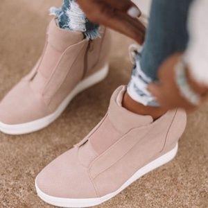 Blush Pink Wedge Sneaker